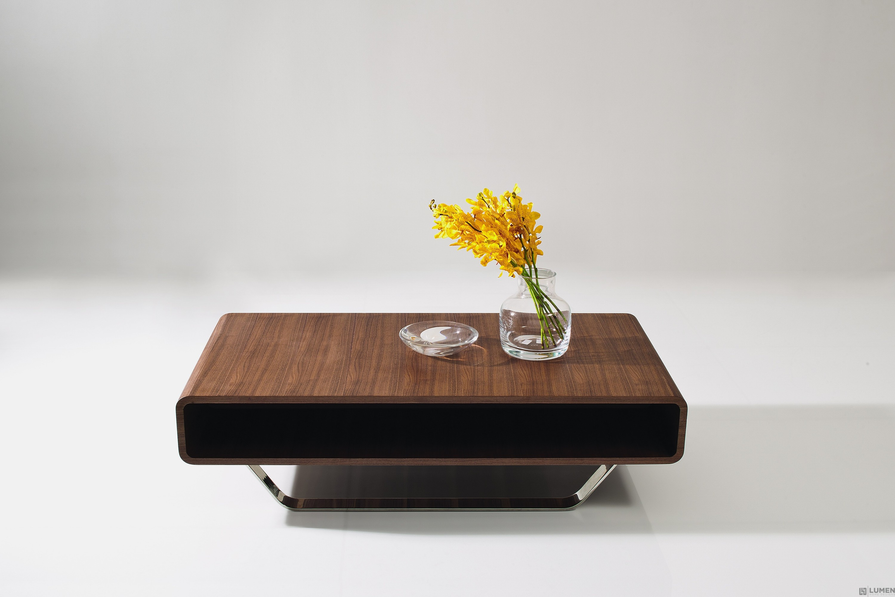 Rounded Edge Walnut Coffee Table