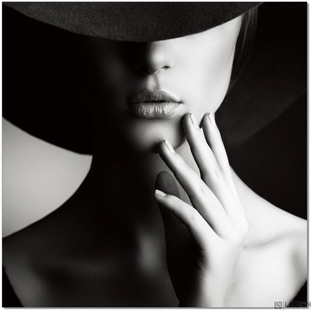 Hepburn Hat Woman B&W Wall Print
